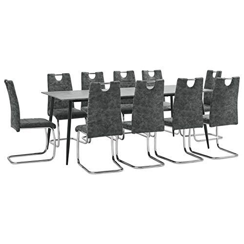pedkit Conjunto de Mesa sillas,Mesa Salón y Sillas,Muebles de Jardin Exterior Conjuntos 1# Juego de Comedor 11 Piezas Cuero sintético Negro