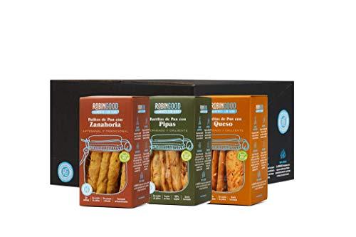 Palitos de Pan Horneados, Mix de sabores: Pipas, Queso y Zanahoria. 12 cajas RobinGood, Snack sabroso y saludable sin aceite de Palma ni Aditivos. Envase Aperitivo 100g x 12 Cajas