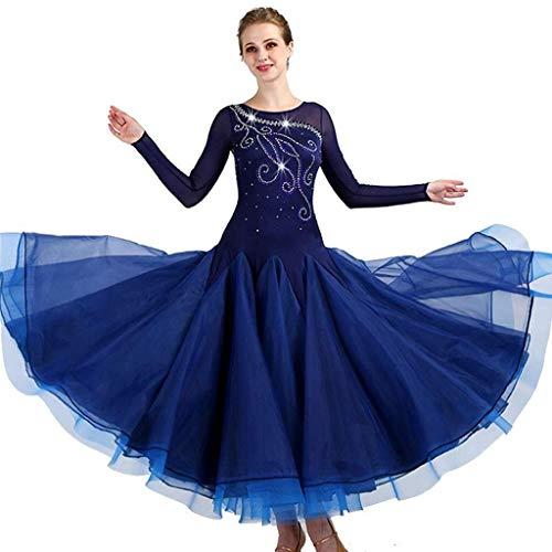 Fhxr Vestido social con diamante moderno de competición de baile con falda de alta gama de nueva danza Norma Nacional Slim vestido de oscilación de salón de baile turquesa XXXL