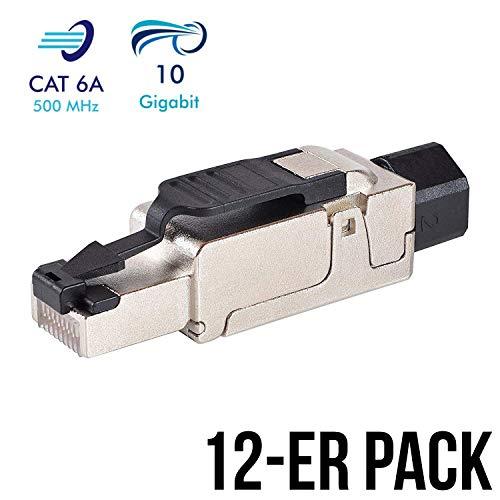 VESVITO 12X CAT 6A RJ45 Netzwerkstecker kompatibel mit CAT 7A CAT 7 Netzwerkkabel bis 10 GBit/s Ethernet 500MHz werkzeuglos, geschirmt, Crimpstecker Steckverbinder Stecker für Verlegekabel LAN Kabel