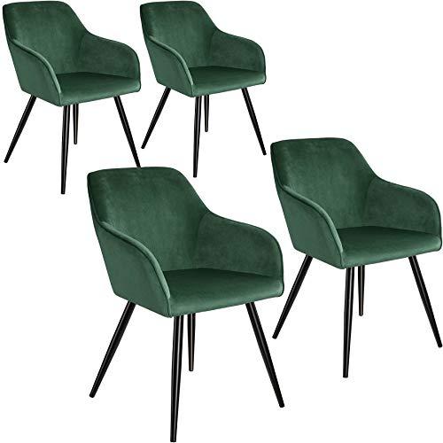 tectake 800866 4er Set Esszimmerstuhl mit Armlehnen, gepolstert, Sitzfläche aus Samt, Schwarze Metallbeine, für Wohnzimmer, Esszimmer, Küche und Büro (Dunkelgrün Schwarz | Nr. 404027)