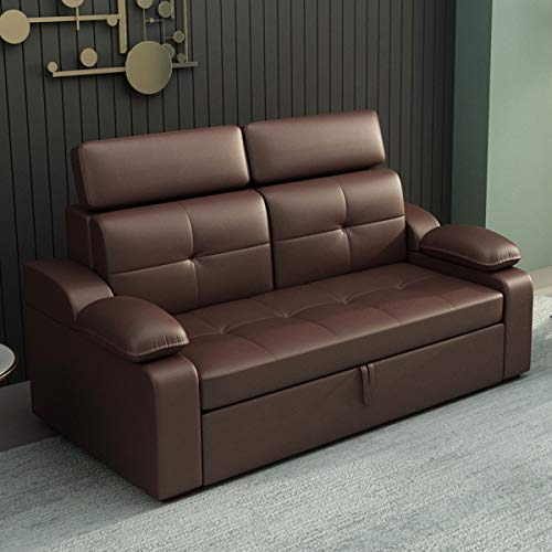 Leather Sofa Couch Bed,Foldable Multifunctional Loveseat Sleeper Sofa Convertible Bed,Comfortable Pull Out Sectional Futon Couch Furniture Suitable for Apartment Living Room Office,Wine Red,2.2M