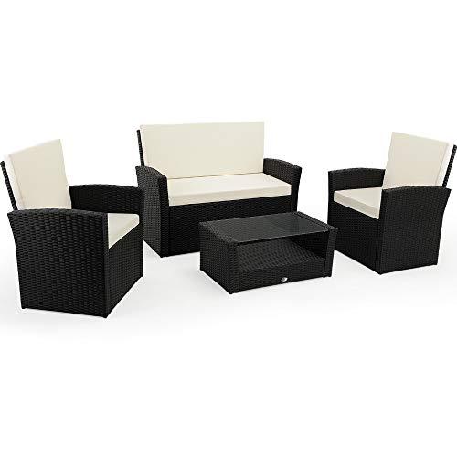 Deuba Poly Rattan Garden Furniture Set Outdoor Patio Balcony Set Colour Choice (Black)