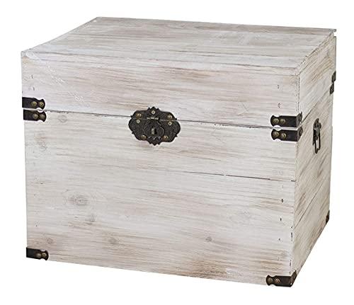 1x braune Holzbox mit Deckel   45x35x35 cm   Neu   schöne Metallbeschläge veredeln die Truhe, Stauraum für Deko, Bilder, Filme - 3