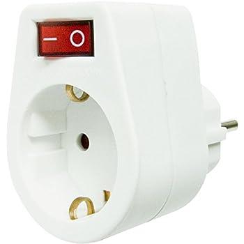 Blanc I 45034 IP20 as-Schwabe Prise m/âle /à Prise Schuko avec Interrupteur Lumineux 230 V // 16 A Prise dalimentation pour Prise Schuko Int/érieur