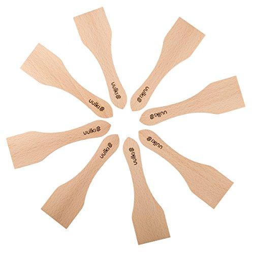 Uulki Raclette Schieber Spachtel Set aus Holz 8 Stück – Racletteschieber Schaber - Umweltfreundlich, gefertigt in Europa - kleine Pfannenwender für Grill, Käse, Ofen.