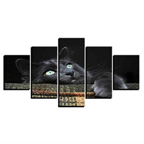 Canvas schilderij wooncultuur Hd afdrukken dierfoto's 5 stuks zacht knuffelig grijs zwarte kat poster voor kinderkamer muurkunst 30x40cmx2,30x60cmx2,30x80cmx1 No Frame