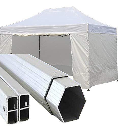 Gazebo Pieghevole 4,5x3m Alluminio piantone Esagonale Telo Rivestito PVC con Laterali