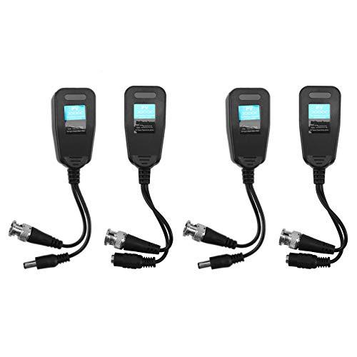 Kuinayouyi Balun de vídeo pasivo HD-CVI/TVI/AHD UTP Balun con alimentación y RJ45 UTP CAT5e/Cat6 transmisor/receptor, incluye iluminación, 2 pares