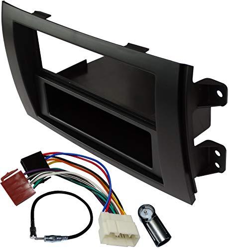 AERZETIX - Kit di montaggio per autoradio standard - 1 e 2DIN - Mascherina telaio, Cavo di collegamento e Adattatori per antenna - Nero - C11611A