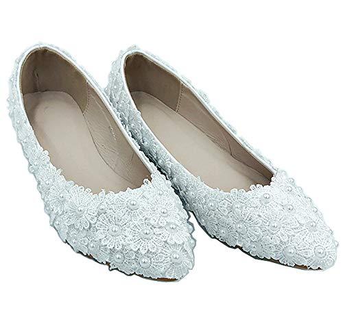 Yhjmdp Zapatos Blancos de Boda de tacón Plano para Mujer, Zapatos de...