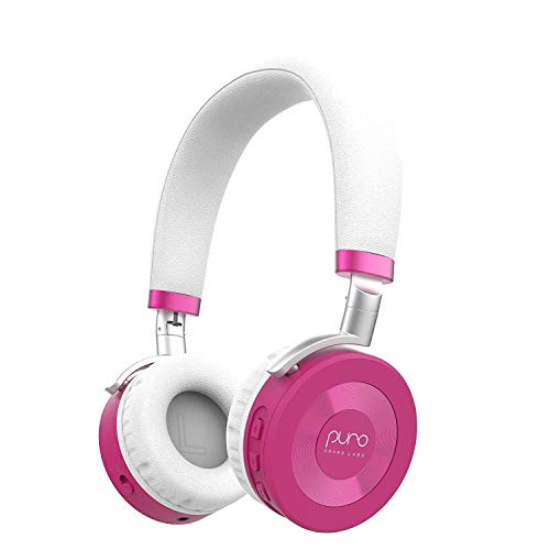 JuniorJams Volume Limiting Headphones for Kids 3+ Protect Hearing – Foldable & Adjustable Bluetooth Wireless Headphones for Tablets, Smartphones, & PCs – 22-Hour Battery Life by Puro Sound Labs, Pink