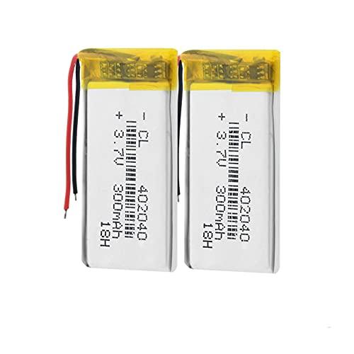 SUGGL 2pcs 3.7v 300mah 402040 Batería Recargable De PolíMero De Litio Li-Po Li Ion, para Mp3 Mp4 Grabadora De Voz Pulsera Auriculares Bluetooth Altavoz CáMara De Video