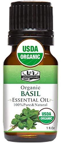1 Fl. Oz / 30 Ml Organic Basil Essential Oil, Usda Certified Organic Basil Oil, 100% Pure &Amp; Natural Basil Essential Oil, Therapeutic Grade Basil Essential Oil