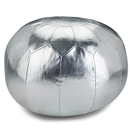 Simpli Home Charlize Round Pouf, Footstool, Upholstered in Silver Faux Leather, for the Living Room, Bedroom and Kids Room, Contemporary, Modern