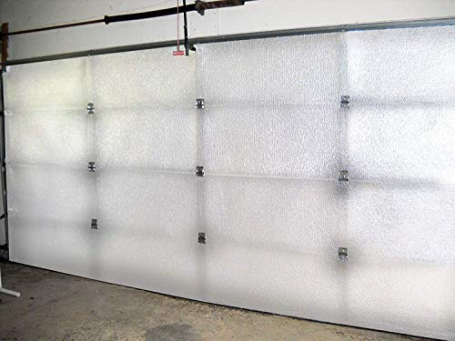 NASA TECH White Reflective Foam Core 2 Car Garage Door Insulation Kit 18FT (Wide) x 8FT (HIGH) R Value 8.0 Made in USA New and Improved Heavy Duty Double Sided Tape (Also FITS 18X7) …