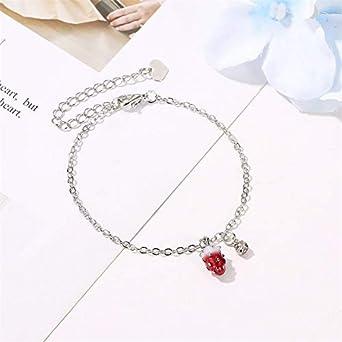 Cute Red Strawberry Bracelet Sweet Strawberry Fruit Chain Bracelet for Woman Girl Teens