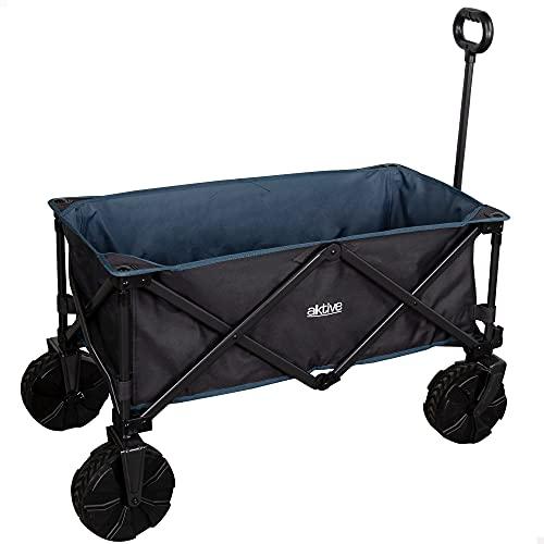 Aktive 62620 - Carro transporte plegable, carro plegable playa, camping, jardín, carro playa plegable ruedas grandes todoterreno ancho especial, mango ajustable, carrito playa para sombrillas y sillas