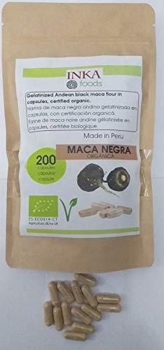 Maca nera andina in capsule organiche, sacchetto da 200 capsule