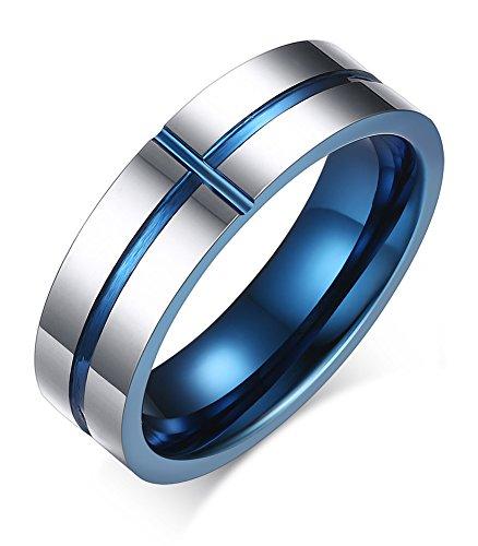 VNOX 6mm Mens Tungsten Carbide High Polish Cross Desgin Silver Finish Blue Wedding Band Ring for Wedding Engagement UK Size X 1/2