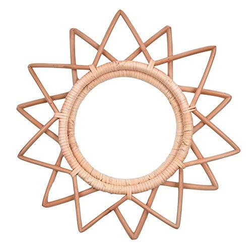Espejo Redondo De Ratán, Decoración De Arte Innovadora Espejos De Baño Espejo De Metal Moderno Para Colgar En La Pared Espejo De Maquillaje Para Colgar En La Pared Del Baño Para La Decoración