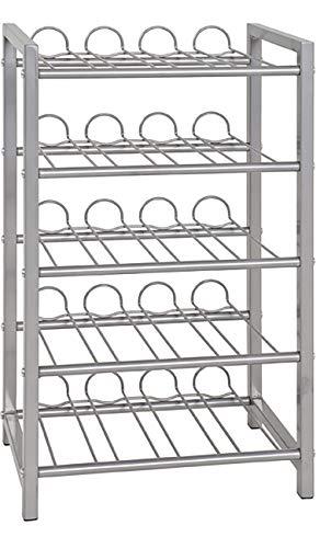 Haku Möbel Flaschenständer - Stahlrohr alufarben lackiert für ca 35 Flaschen H 59 cm