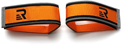 Retrospec Bicycles Fixed-Gear Track BMX-Style Foot Retention FGFS Velcro Straps with Reflective Fabric, Orange
