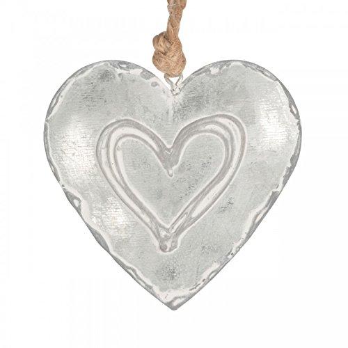 Videx Deko-Anhänger Herz Alexa, zink-geweißt, groß: 10 x 10 cm, Breite: 2,5 cm
