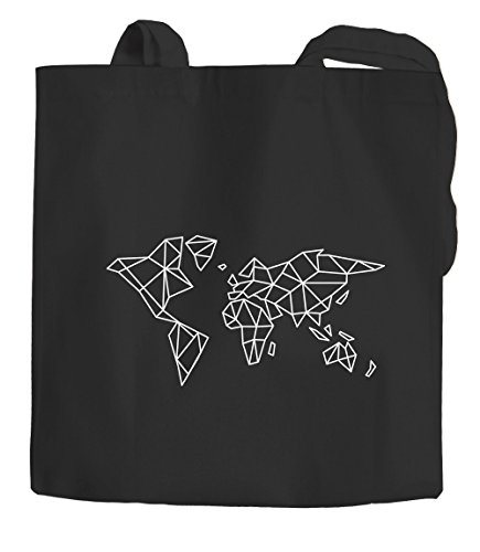 Autiga® - Bolsa de yute con diseño de mapamundi y mapamundi (poligón, algodón, 2 asas largas), color negro