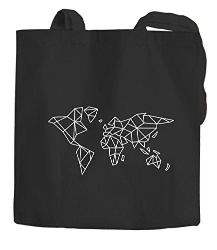 Jutebeutel Weltkarte World Map Low Polygon Baumwolltasche Stoffbeutel Einkaufstasche Autiga® schwarz 2 lange Henkel