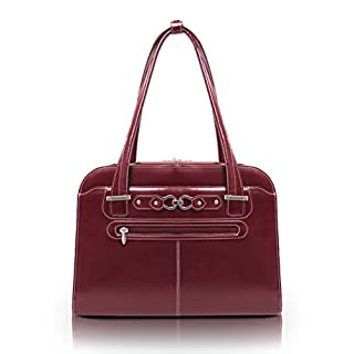 """McKlein, W Series, Oak Grove, Top Grain Cowhide Leather, 15"""" Leather Fly-Through Checkpoint-Friendly Ladies' Laptop Briefcase, Red (96636) (B0044UOHEC) 