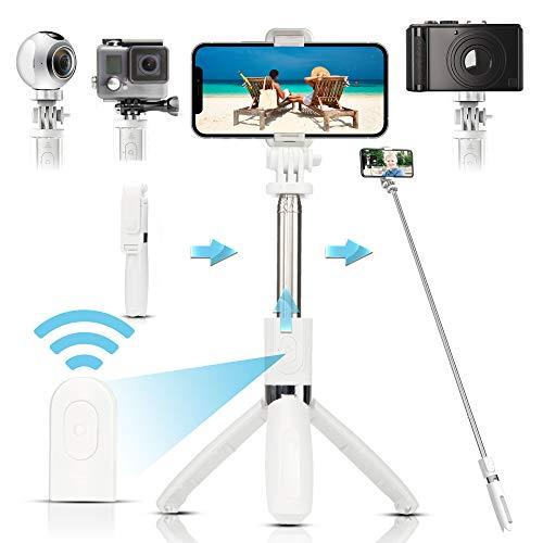 Arikaree® Bastone Selfie Stick Telecomando Bluetooth, Treppiede Regolabile, Asta Selfie Estensibile Ultra Leggera Smartphone iPhone, Samsung, Huawei, Macchine Fotografiche, GoPro (Bianco)