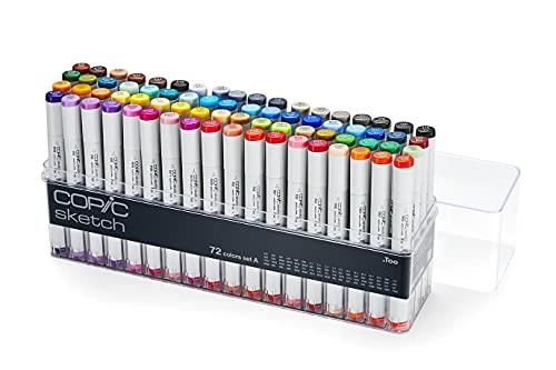 COPIC Sketch Marker Set A mit 72 Farben, professionelle Pinselmarker, alkoholbasiert, im praktischen Acryl-Display zur Aufbewahrung und einfachen Entnahme