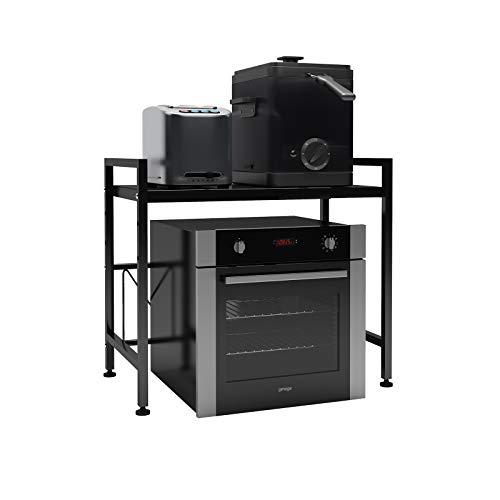 DAWNYIELD Estante extensible para horno de microondas de 2 niveles con 3 ganchos colgantes para microondas con almacenamiento para mostrador de cocina, soporte para impresora