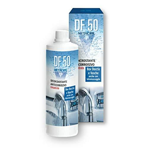 Superdesincrustante anticorrosivo concentrado DF50 500 ml para cabina de ducha, cristales, grifos, bañeras de hidromasaje, sanitarios.