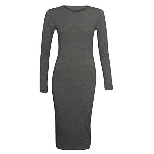 Vestito da donna a maniche lunghe, tinta unita, elasticizzato, lunghezza al ginocchio, taglia media grigio scuro 54