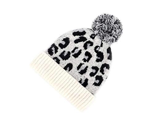 xingxing Bonnets d'hiver pour femme en tricot motif léopard tendance en laine chaude pour l'hiver et l'automne 2020 (couleur : blanc, taille : unique)