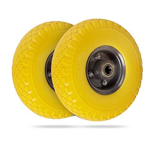 2X PU Sackkarrenrad 3.00-4/70x260mm, Set Ersatzreifen, luftbereift, 20mm Achse, bis100kg,Stahlfelge, gelb-grau