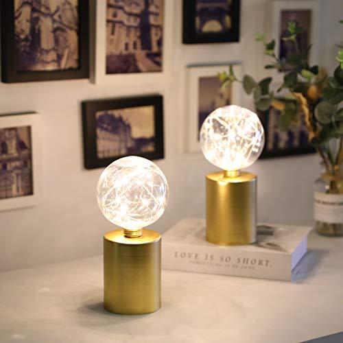 JHY DESIGN set de 2 Lámpara de Mesa de Noche Lámpara base de metal dorado Moderna alimentada por batería bombilla Edison Luz del Escritorio para Cafe Bar Estudio de Luz Nocturna de la Cabecera