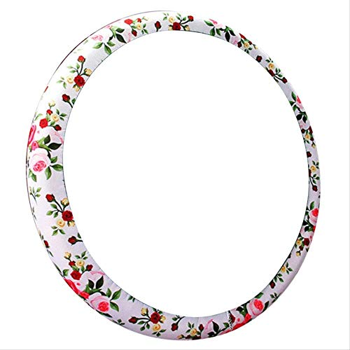 LZWNB Cubierta Universal de Cuero para Volante de Coche Antideslizante, Fundas de Volante con diseño de Flor Rosa para Mujeres y niñas