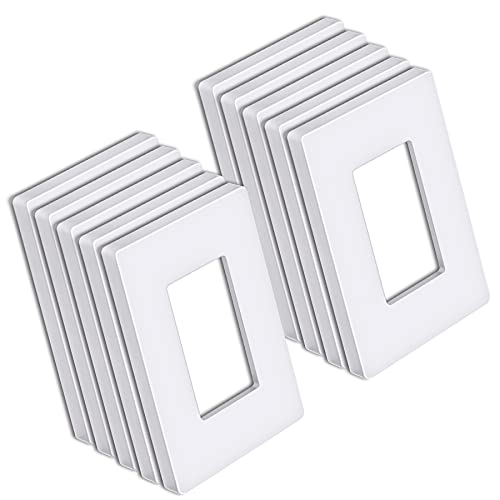 """[10 Pack] BESTTEN 1-Gang Screwless Wall Plate, USWP6 Pure White Series, Decorator Outlet Cover, H4.69"""" x W2.91"""", for Decor Switch, Dimmer, GFCI, USB Receptacle"""