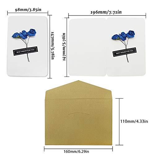 Dylan-EU 4 Grußkarte mit 4 Geschenk Umschlag Dankskarten Retro Einladungskarte mit Plastikblume Danken Ihnen Karten für Valentinstag Danksagung Geburtstag Muttertag - 6