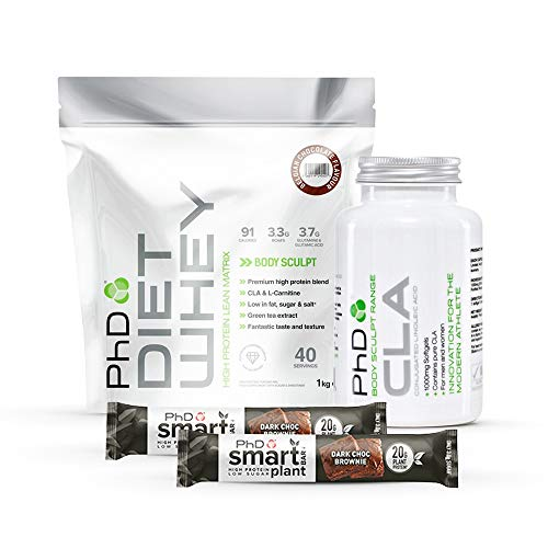 PHD Diet Whey 1kg Protein Lean Weight Loss Bundle, CLA Fat Reducing Capsules x 90, 2 x Vegan Smart Protein Bars (Chocolate Mint)