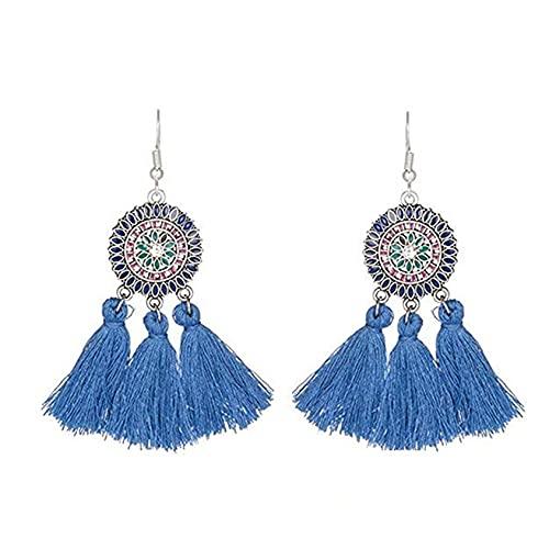 SMEJS - Pendientes colgantes con borlas elegantes, joyería para mujeres, niñas, pendientes con dijes, pendientes para mujer, regalos para mujeres, regalo de cumpleaños, azul