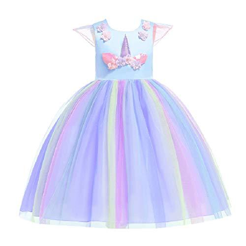 Bmeigo Meisjes Prinses Jurk Haarband Kostuum Luxe Kleding Prestatie Verjaardag Party Carnaval Verkleedkleding 3-9Y