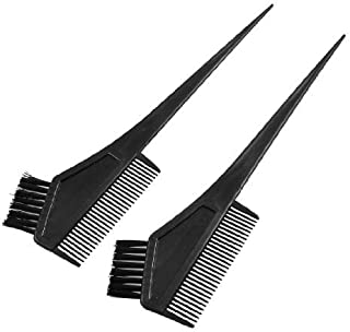 DealMux Plastic Straight Bristle Hair Dye Tint Color Coloring Brush Comb 2 Pcs Black