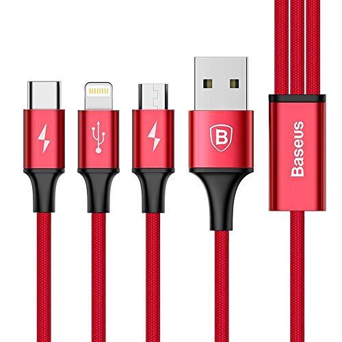 Baseus - Cable de datos USB Micro USB tipo C 3 en 1 para carga rápida de 3 A