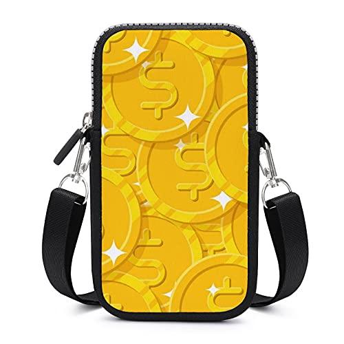 Bolso bandolera para teléfono móvil con correa de hombro extraíble monedas dólares bolsa a prueba de sudor para llavero brazalete cartera al aire libre Bolsas niñas