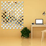 Look Decor 100 Chips Square Silver 3D Acrylic Mirror Wall Sticker Code 862 Decoration for Kids Room/Living Room/Bedroom/Office/Home Wall headrest monitors Oct, 2020