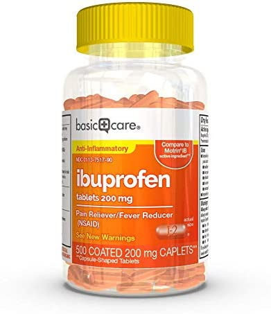 Amazon Basic Care Ibuprofen Tablets 200 mg Pain Reliever Fever Reducer 500 Count product image